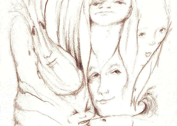 Faces Greeting Card featuring the drawing We Are Watching by Stephanie H Johnson