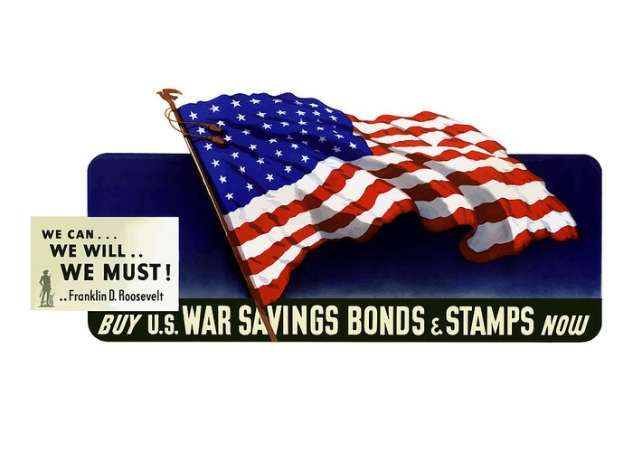 American Flag Greeting Card featuring the painting We Can - We Will - We Must by War Is Hell Store