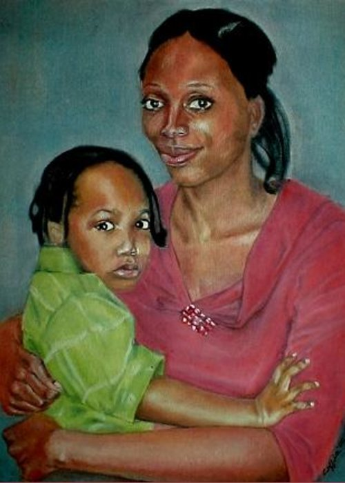 Mother And Son Greeting Card featuring the painting We Found Him by G Cuffia