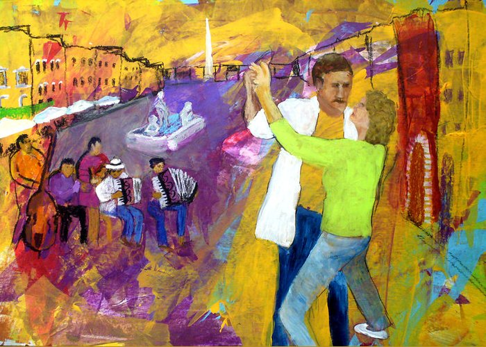 Tango Greeting Card featuring the painting We Tangoed On The Piazza Navono by Keith Thue