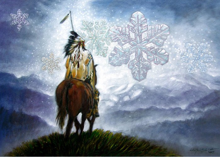 American Indian Greeting Card featuring the painting We Vanish Like The Snow Flake by John Lautermilch