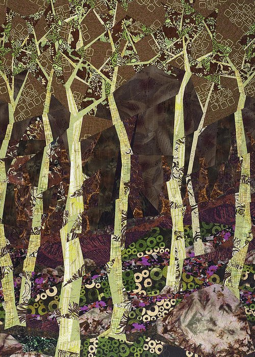 Tree Greeting Card featuring the tapestry - textile Wearing the Scars by Linda Beach