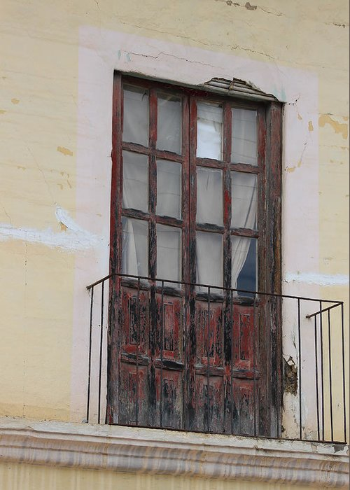 Door Greeting Card featuring the photograph Weathered Red Door On A Balcony by Robert Hamm