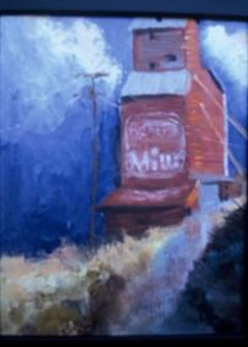 The Old General Mills Grain Elevator In Belt Greeting Card featuring the painting Weathered- S O L D by Bryan Alexander