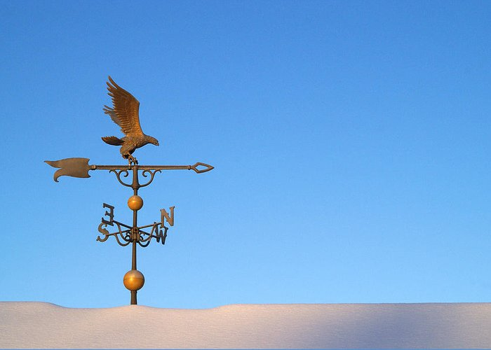 Weathervane Greeting Card featuring the photograph Weathervane On Snow by Robert Suits Jr