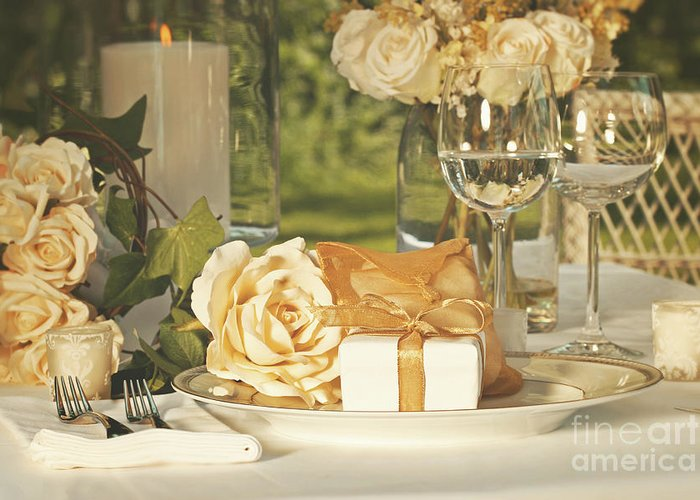 Arrangement Greeting Card featuring the photograph Wedding Party Favors On Plate At Reception by Sandra Cunningham