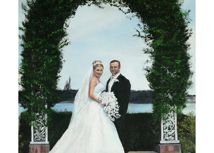 Portrait Greeting Card featuring the painting Wedding Portrait Entering The Magic Kingdom by Gail Wurtz