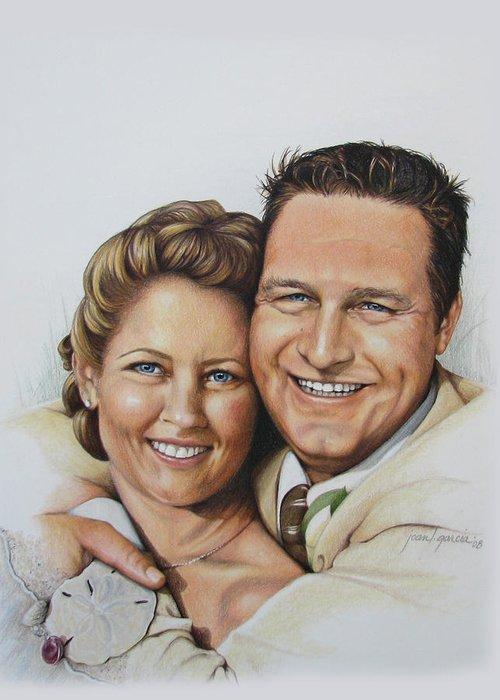 Wedding Portraits Greeting Card featuring the drawing Wedding Portrait Jeremy N Katie by Joan Garcia