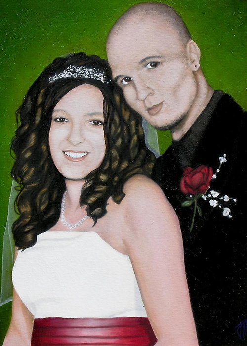 Portrait Greeting Card featuring the painting Wedding Portrait Of Clint And Ashley by Joe Michelli