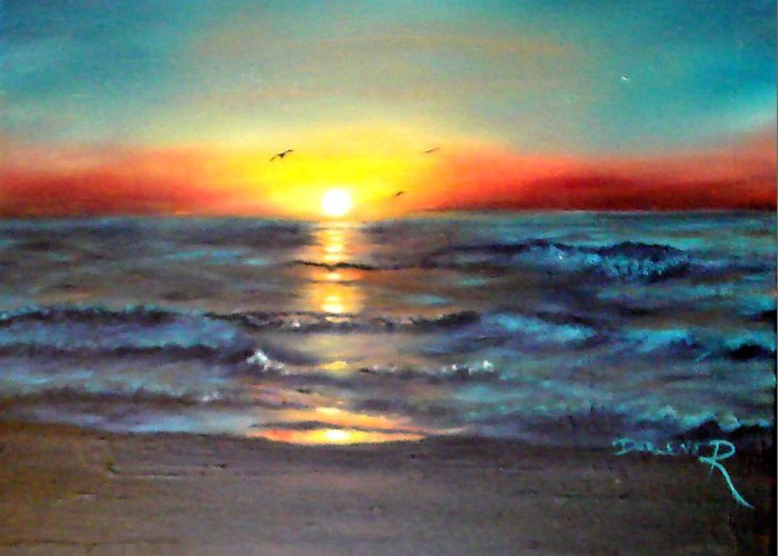 Sun Greeting Card featuring the painting Wedding Sunrise On Indian Harbour Beach Florida by Darlene Green