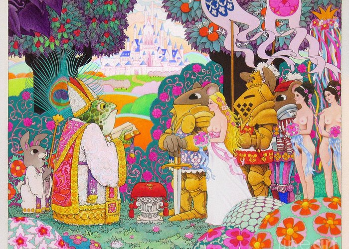 Fantasy Illustration; Medieval; Fantasy; Castles; Erotic Fantasy; Knights And Ladies; Frogs; Rabbits Greeting Card featuring the painting Wedding by Terry Anderson