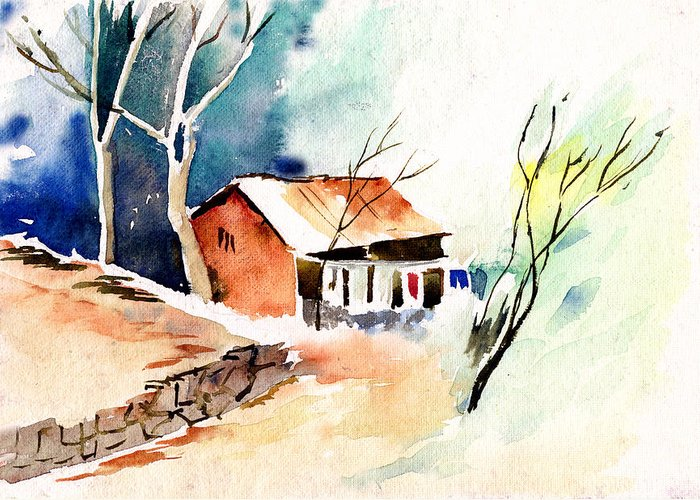 Nature Greeting Card featuring the painting Weekend House by Anil Nene