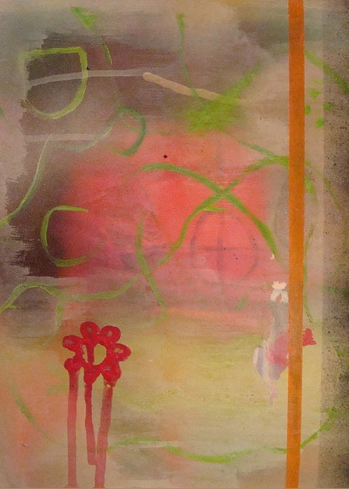 Modern Abstract Greeting Card featuring the painting Weeping Flower by W Todd Durrance