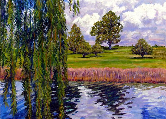 Landscape Greeting Card featuring the painting Weeping Willow - Brush Colorado by John Lautermilch