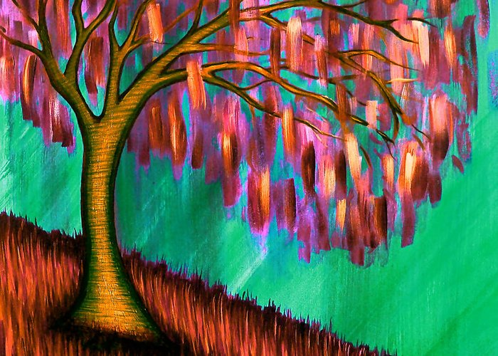 Tree Greeting Card featuring the painting Weeping Willow IIi by Brenda Higginson