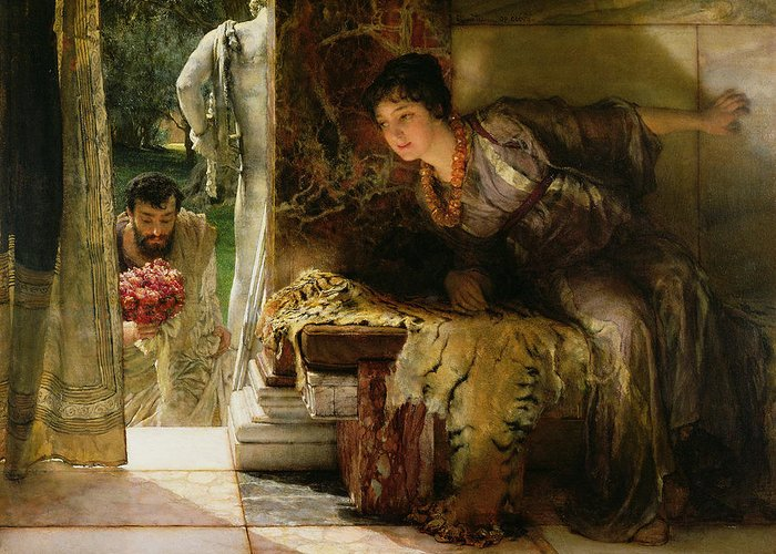 Welcome Greeting Card featuring the painting Welcome Footsteps by Sir Lawrence Alma-Tadema