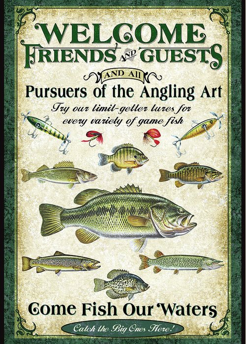 Fish Greeting Card featuring the painting Welcome Friends Sign by JQ Licensing