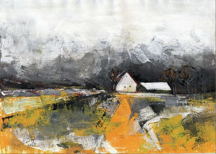 Landscape Greeting Card featuring the painting Welcome Home by Aniko Hencz