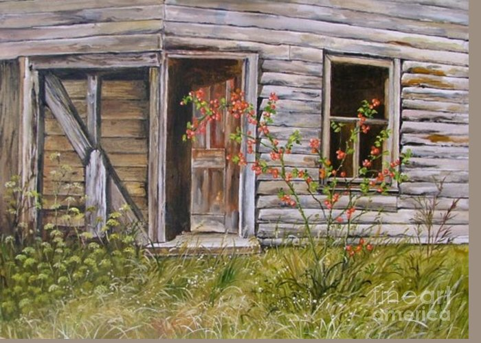 Decrepit Greeting Card featuring the painting Welcome Inn by Val Stokes