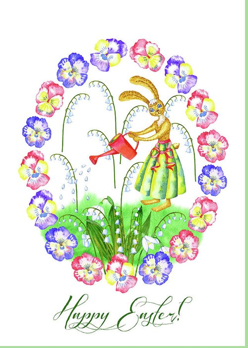 Lily Of The Valley Greeting Card featuring the digital art Welcome Spring. Rabbit and Flowers by Natalia Piacheva