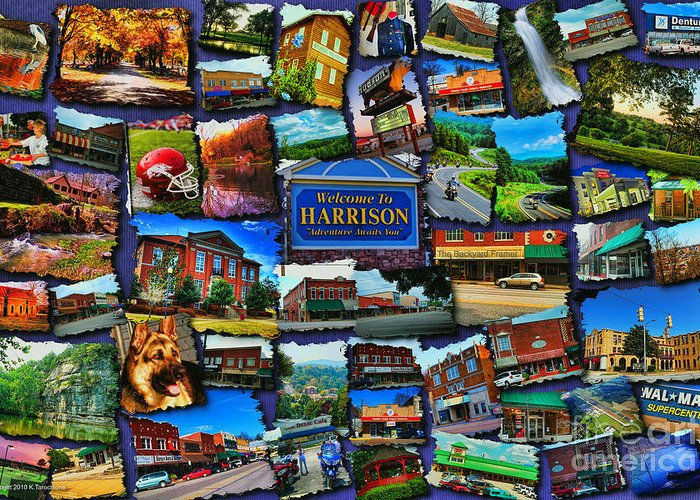 Harrison Greeting Card featuring the digital art Welcome To Harrison Arkansas by Kathy Tarochione