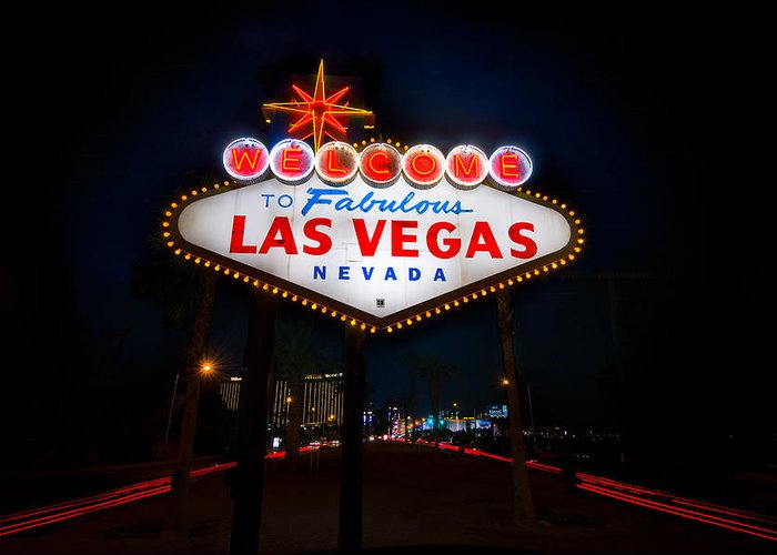 Casino Greeting Card featuring the photograph Welcome To Las Vegas by Steve Gadomski