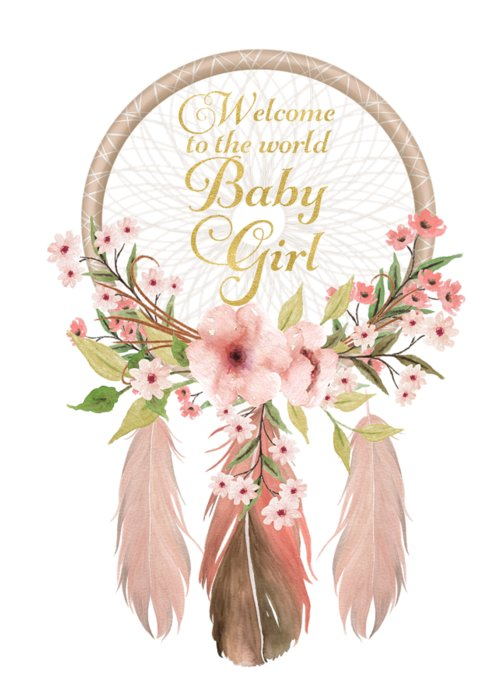 welcome to the world baby girl dreamcatcher greeting card for sale