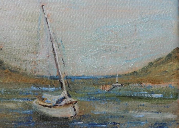 Sailboat Greeting Card featuring the painting Wellfleet Beached by Michael Helfen