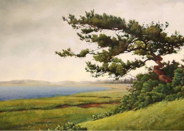 Cape Cod Greeting Card featuring the painting Wellfleet Saltmarsh by Stephen Bluto