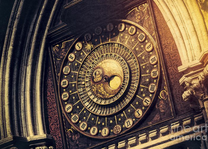 Wells Cathedral Greeting Card featuring the photograph Wells Cathedral Astronomical Clock by Tim Gainey