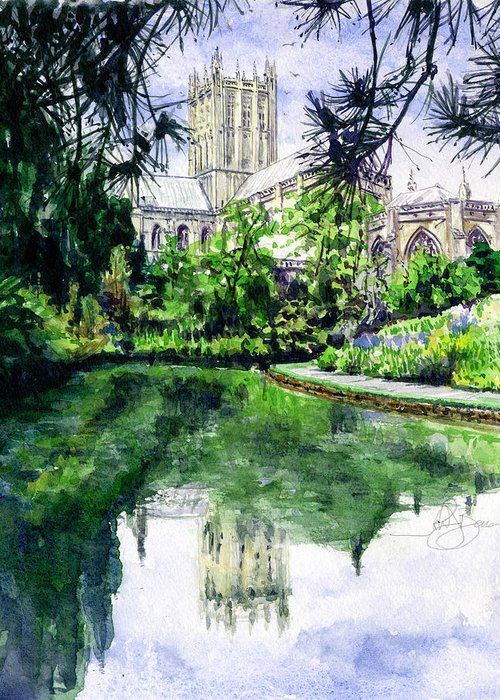 Wells Greeting Card featuring the painting Wells Cathedral by John D Benson