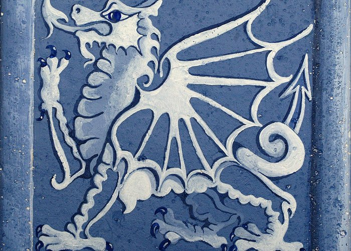 Heritage Greeting Card featuring the painting Welsh Dragon Panel by Joyce Hutchinson