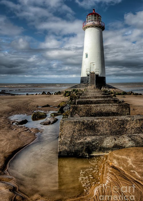 Beach Greeting Card featuring the photograph Welsh Lighthouse by Adrian Evans