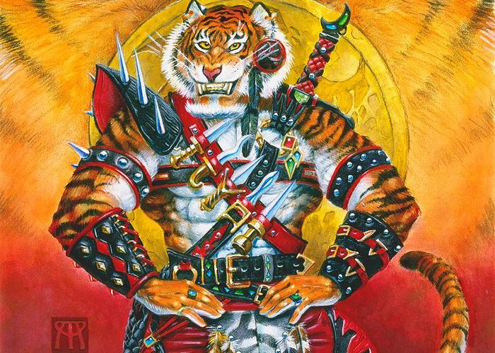 Fantasy Greeting Card featuring the painting Werecat Warrior by Melissa A Benson