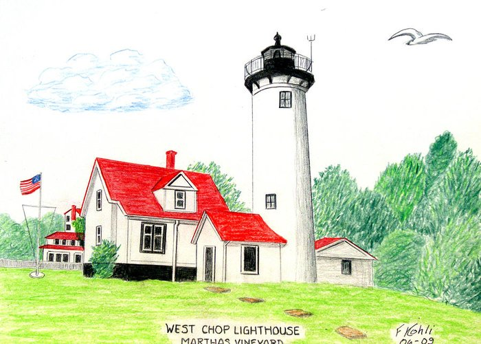 Lighthouse Drawings Greeting Card featuring the drawing West Chop Lighthouse by Frederic Kohli