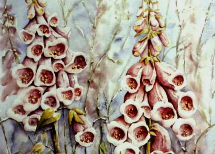 Forest Edge Flower Greeting Card featuring the painting West Coast Beauty by Marta Styk