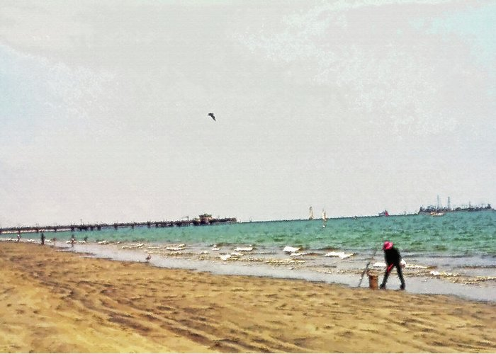 Beach; Beaches; Long Beach; California; Coast; Coastline; Fishing; Fishermen; Ocean; Pacific; Pacific Ocean; Shore; Shoreline; Alone; Lone; Pier; Sailing; Sail; Sailboat; Boats; Islands; Bird; Fowl; Sand; Sandy; Recreation; Recreational; Peace; Solitude; Tranquility; Water; Sky; Blue Sky; Bird Flying; Families; Family; Fun; Enjoyment; Hobby; Day At The Beach; Outing; Get Away; Break; Refreshing; Rejuvenating; West Coast; Leisure; Peaceful; Relax; Relaxation; Relaxing; Catching Fish; Catch; Waves; Pastoral; Scenic; Scenery; Landscape; Digital Art; Artistic; Canvas; Texture; Painterly Greeting Card featuring the photograph West Coast Fisherman by Steve Ohlsen