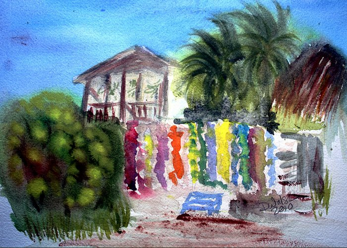 West End Greeting Card featuring the painting West End Market by Donna Walsh