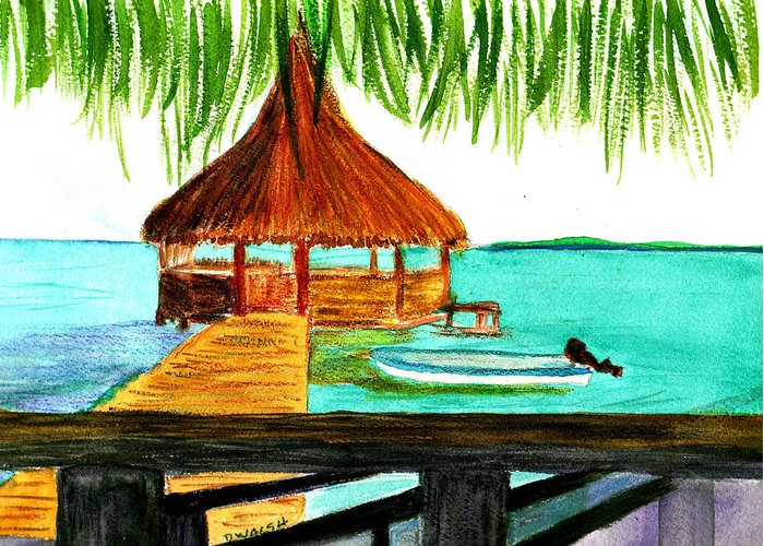 West End Greeting Card featuring the painting West End Roatan by Donna Walsh