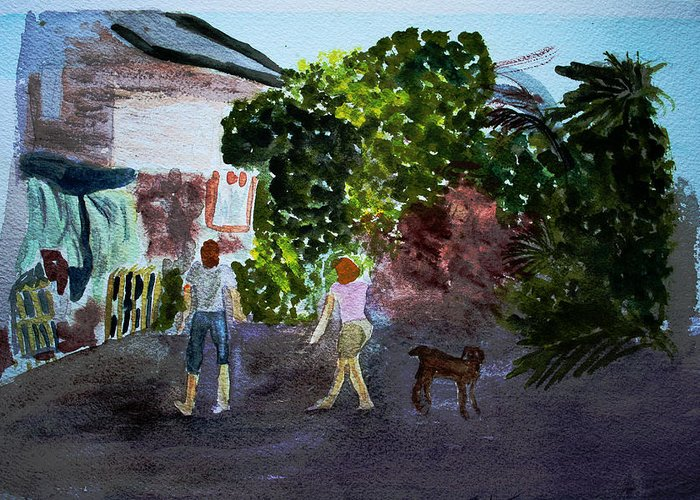 Landscapes Greeting Card featuring the painting West End Shopping by Donna Walsh