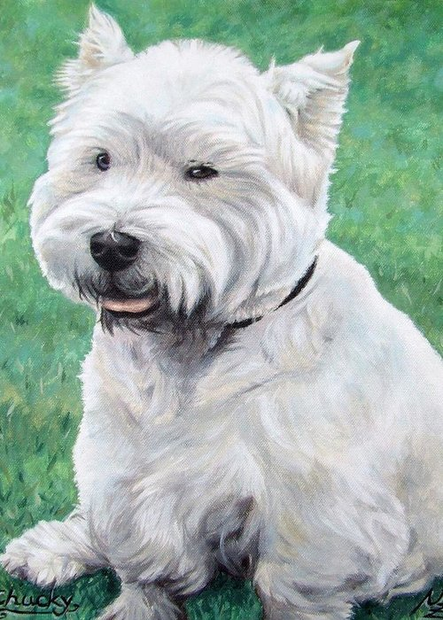 Dog Greeting Card featuring the painting West Highland Terrier by Nicole Zeug