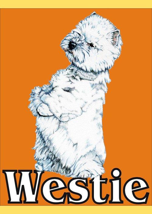 Westie Greeting Card featuring the drawing West Highland White Terrier Westie Urban Pop Orange by Kathleen Sepulveda