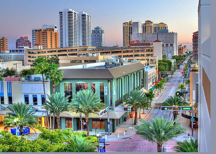 Florida Greeting Card featuring the photograph West Palm At Twilight by Debra and Dave Vanderlaan
