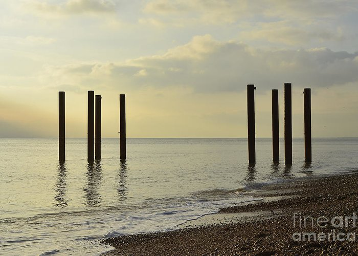 West Pier Greeting Card featuring the photograph West Pier Supports by Smart Aviation