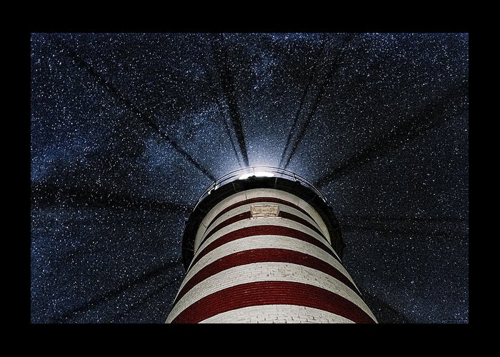 West Quoddy Head Lighthouse Greeting Card featuring the photograph West Quoddy Head Lighthouse Night Light by Marty Saccone