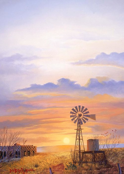 Windmill Greeting Card featuring the painting West Texas Sundown by Howard Dubois