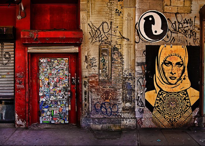 Graffitti Greeting Card featuring the photograph West Village Wall Nyc by Chris Lord