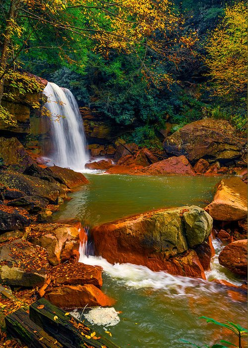 Greeting Card featuring the photograph West Virginia Falls by Steven Maxx