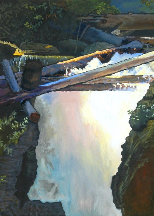 Fall Greeting Card featuring the painting West Yaak Falls by Robert Bissett