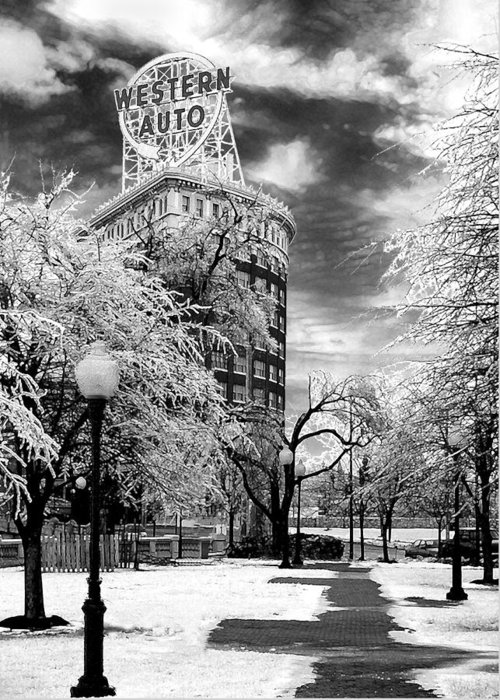 Western Auto Kansas City Greeting Card featuring the photograph Western Auto In Winter by Steve Karol